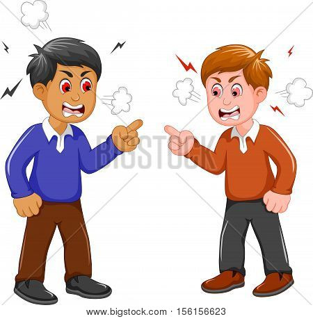 angry two men cartoon arguing for you design