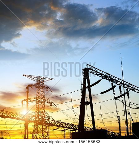 Substation equipment and lines and directional towers.
