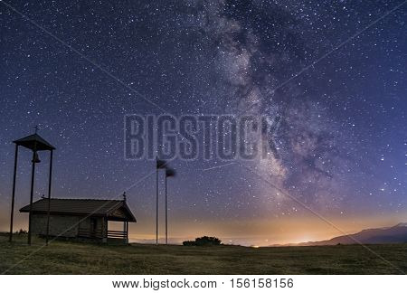Milky Way Galaxy Over A Chapel In Bulgaria