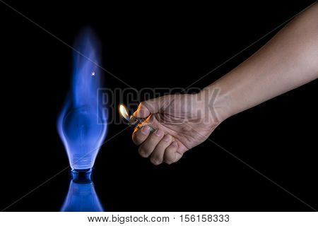 Hand Lighting A Lightbulb Instead A Candle