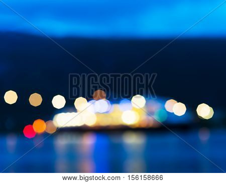Norway night ship with lights bokeh background hd