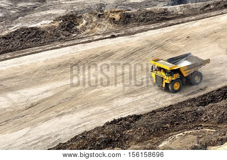 back to pit for loading overburden hauling activity on open pit