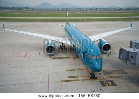 HANOI, VIETNAM - JANUARY 12, 2016: Airplane Airbus A350 (VN-A888) Vietnam Airlines on the ramp Noi Bai Airport