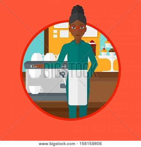An african-american female barista sanding in front of coffee machine. Barista at coffee shop. Barista making a cup of coffee. Vector flat design illustration in the circle isolated on background.