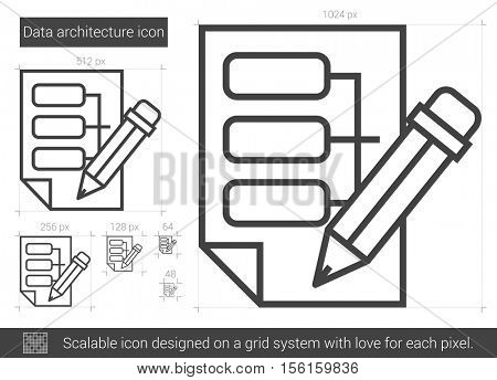 Data architecture vector line icon isolated on white background. Data architecture line icon for infographic, website or app. Scalable icon designed on a grid system.