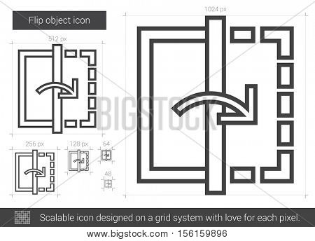 Flip object vector line icon isolated on white background. Flip object line icon for infographic, website or app. Scalable icon designed on a grid system.