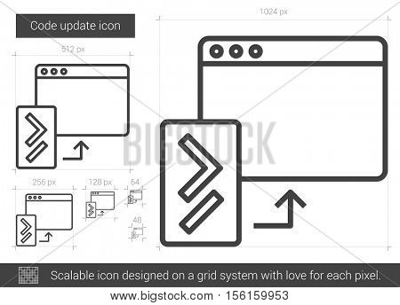 Code update vector line icon isolated on white background. Code update line icon for infographic, website or app. Scalable icon designed on a grid system.