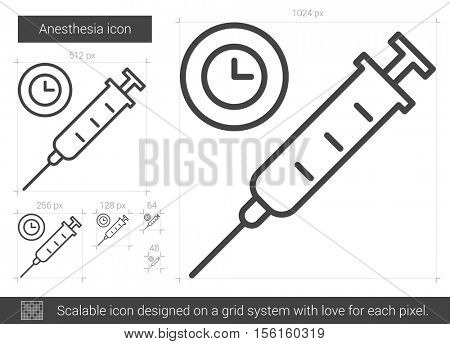 Anesthesia vector line icon isolated on white background. Anesthesia line icon for infographic, website or app. Scalable icon designed on a grid system. poster