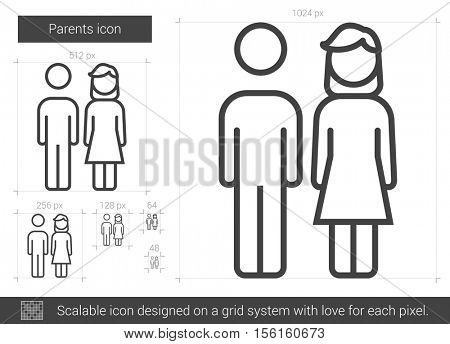Parents vector line icon isolated on white background. Parents line icon for infographic, website or app. Scalable icon designed on a grid system.