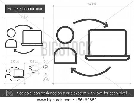 Home education vector line icon isolated on white background. Home education line icon for infographic, website or app. Scalable icon designed on a grid system.