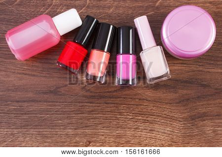 Cosmetics For Manicure Or Pedicure, Nail Polish And Remover, Concept Of Nail Care