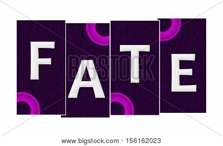 Fate text alphabets written over purple pink background.