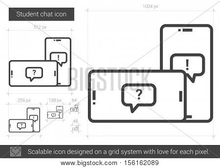 Student chat vector line icon isolated on white background. Student chat line icon for infographic, website or app. Scalable icon designed on a grid system.