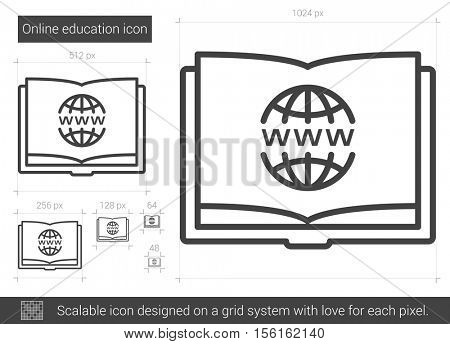 Online education vector line icon isolated on white background. Online education line icon for infographic, website or app. Scalable icon designed on a grid system.