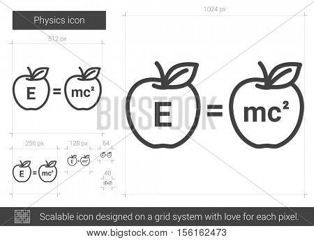 Physics vector line icon isolated on white background. Physics line icon for infographic, website or app. Scalable icon designed on a grid system.