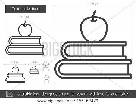 Text books vector line icon isolated on white background. Text books line icon for infographic, website or app. Scalable icon designed on a grid system.