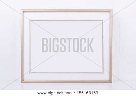 Mockup styled stock photography with plain thin landscape gold frame on a white background overlay your quote promotion headline or design great for small businesses lifestyle bloggers and social media campaigns