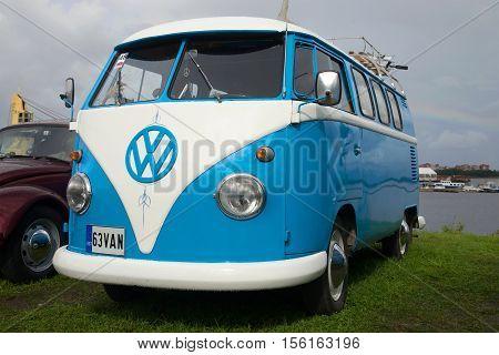 KRONSTADT, RUSSIA - SEPTEMBER 04, 2016: Minibus Volkswagen T1 Kombi 1950 at an exhibition of retro transport