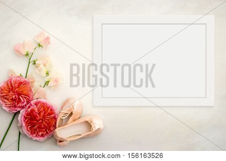 White flat lay landscape frame mockup roses sweet peas ballet slippers beside the frame overlay your quote promotion headline or design great for small businesses lifestyle bloggers and social media campaigns