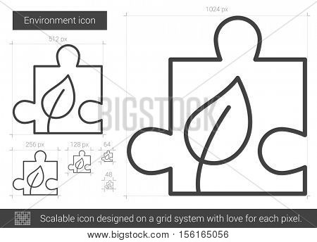 Environment vector line icon isolated on white background. Environment line icon for infographic, website or app. Scalable icon designed on a grid system.