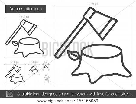 Deforestation vector line icon isolated on white background. Deforestation line icon for infographic, website or app. Scalable icon designed on a grid system.