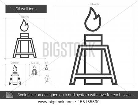 Oil well vector line icon isolated on white background. Oil well line icon for infographic, website or app. Scalable icon designed on a grid system.