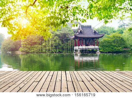 Hangzhou west lake side of the Chinese traditional buildings