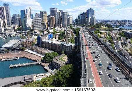 Sydney Skyline With The Southern Approach Of The Sydney Harbour Bridge New South Wales Australia