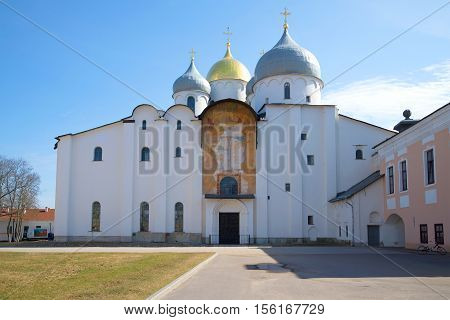 VELIKY NOVGOROD, RUSSIA - APRIL 13, 2016: St. Sophia Cathedral close up in the April afternoon. Detinets of Veliky Novgorod. The religious landmark