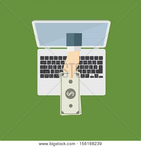 Getting Money From Internet, hand giving money from Laptop Monitor Screen, Online Banking