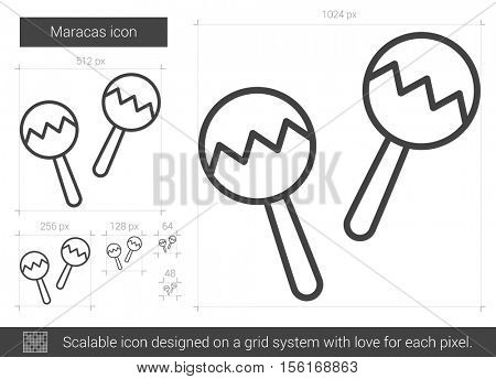 Maracas vector line icon isolated on white background. Maracas line icon for infographic, website or app. Scalable icon designed on a grid system.