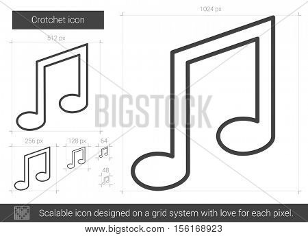 Crotchet vector line icon isolated on white background. Crotchet line icon for infographic, website or app. Scalable icon designed on a grid system.