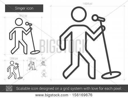 Singer vector line icon isolated on white background. Singer line icon for infographic, website or app. Scalable icon designed on a grid system.