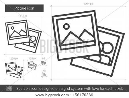 Picture vector line icon isolated on white background. Picture line icon for infographic, website or app. Scalable icon designed on a grid system.