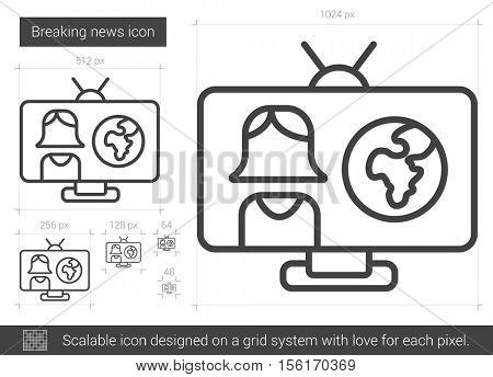Breaking news vector line icon isolated on white background. Breaking news line icon for infographic, website or app. Scalable icon designed on a grid system.