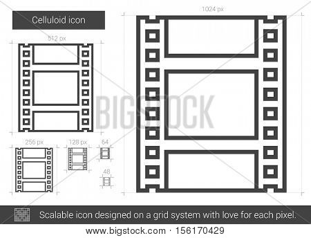 Celluloid vector line icon isolated on white background. Celluloid line icon for infographic, website or app. Scalable icon designed on a grid system.