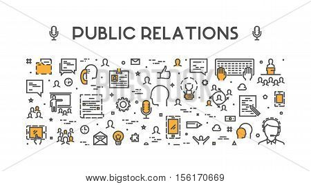 Line web concept for public relations. Vector banner for pr. Open path.