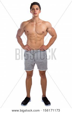 Bodybuilder Bodybuilding Muscles Standing Whole Body Portrait Strong Muscular Young Man Isolated