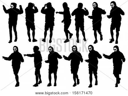 Dancer men in rap style on white background