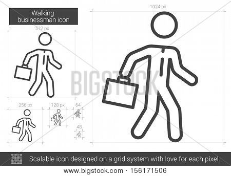 Walking businessman vector line icon isolated on white background. Walking businessman line icon for infographic, website or app. Scalable icon designed on a grid system.