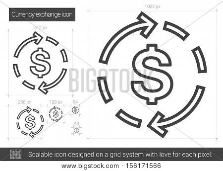 Currency exchange vector line icon isolated on white background. Currency exchange line icon for infographic, website or app. Scalable icon designed on a grid system.