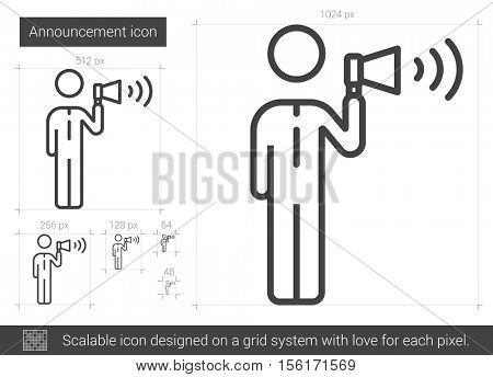 Announcement vector line icon isolated on white background. Announcement line icon for infographic, website or app. Scalable icon designed on a grid system.