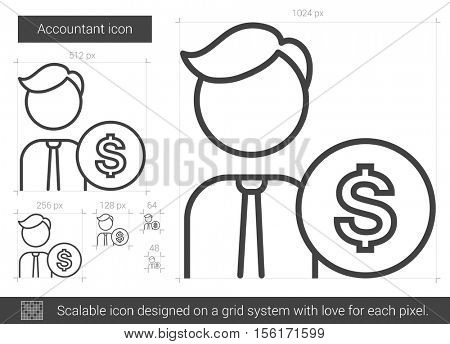 Accountant vector line icon isolated on white background. Accountant line icon for infographic, website or app. Scalable icon designed on a grid system.