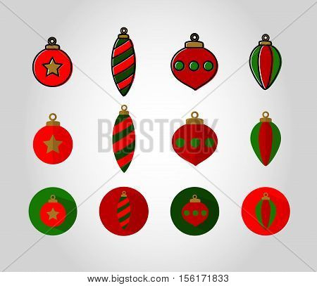 Red and Green Christmas Bauble full flat icon set. Vector version of these xmas balls come with swatches. Great for gift tags decoration etc.
