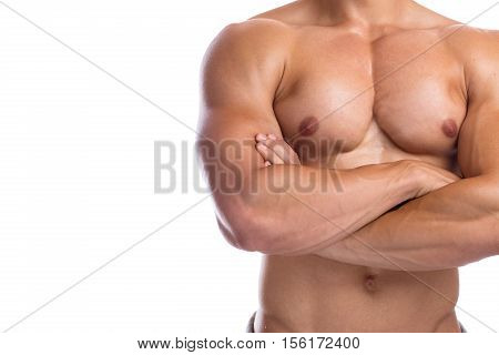 Bodybuilder Bodybuilding Flexing Chest Muscles Posing Copyspace Body Builder Building Strong Muscula
