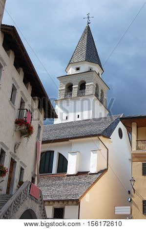 Church of Santa Maria Nascente XIX century in Pieve di Cadore small mountain town. Belluno Veneto Italy Europe