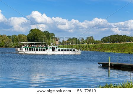 Ferry boat in the lake of Mantova (Mantua) mincio River. Lombardia (Lombardy) Italy