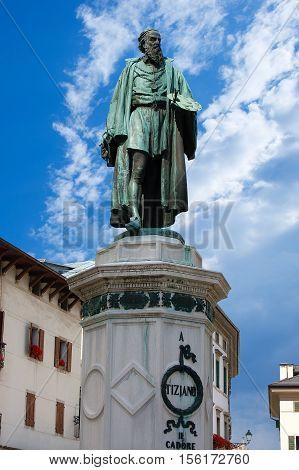 Monument dedicated to Tiziano Vecellio (1488/90 - 1576). Bronze statue (1880) in Pieve di Cadore Belluno Veneto Italy Europe
