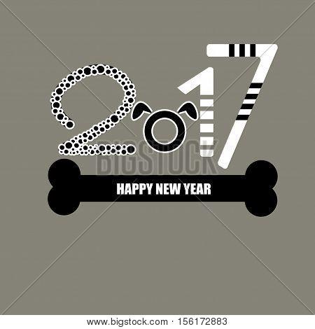 happy new year 2017 vector design dog
