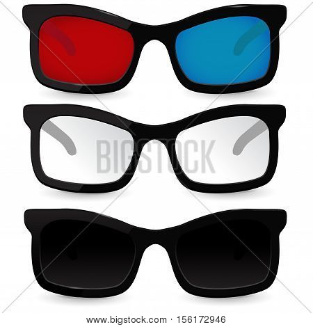 Set of glasses. Eyeglasses, sunglasses, 3D glasses for cinema. Vector illustration isolated on white background